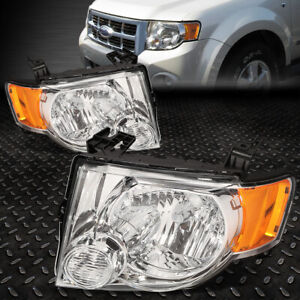 For 2008 2012 Ford Escape Suv Pair Chrome Housing Amber Side Headlight Lamp Set