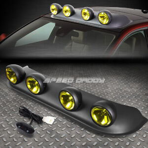 Universal 4x4 Black Frame Yellow Tint Lens Off Road Roof Mounted Rally Fog Light