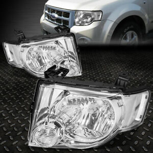 For 08 12 Ford Escape Chrome Housing Clear Corner Headlight Replacement Headlamp