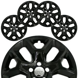 4 Black 2015 2018 Jeep Renegade 17 Wheel Skins Hub Caps Snap On Full Rim Covers
