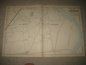 Antique Hartford City South Manchester Granby Kensington Scitico Connecticut Map