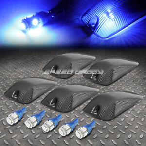 For 88 02 Chevy Gmc C K 5pcs Smoked Housing Blue Led Cab Roof Running Light