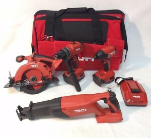 Hilti 18v Cordless 4 Tool Li ion Combo 21 6v Kit Set 2 5 2ah Batteries New