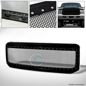 Fit 05 07 Ford F250 F350 Superduty Blk Rivet Steel Wire Mesh Front Bumper Grille