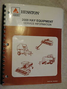 2000 Agco Hesston Hay Equipment Service Information Repair Manual
