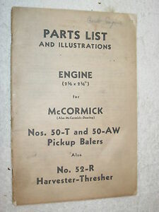 Mccormick Deering 50 t 50 aw Pickup Balers harvester Engine Parts Catalog