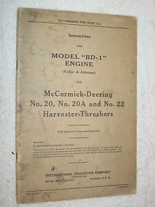 Ih Mccormick deering Bd 1 Harvester Thresher Engine Care operating parts Manual
