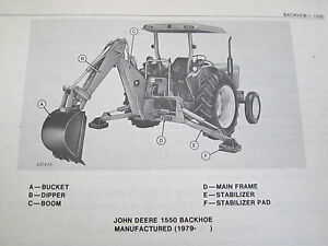 1979 Jd John Deere 1550 Backhoe Parts Catalog Manual