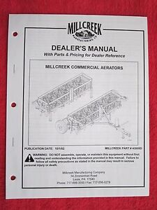 2002 Millcreek 420 630 840 1050 Aerators Operators maintenance parts Manual