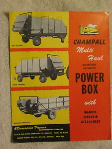 1950 s Minneapolis Freeman Mfg Champall Multi Haul Power Box Brochure Nice