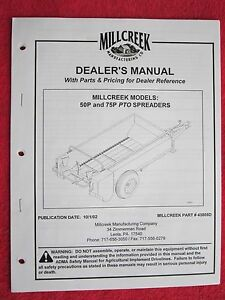 2002 Millcreek Mod 50p 75p Manure Spreader Operators maintenance parts Manual
