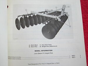 1979 Jd John Deere 31 Integral Disk Parts Catalog Manual