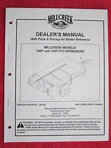 2002 Millcreek Mod 100p 125p Manure Spreader Operators maintenance parts Manual