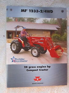 2000 Massey Ferguson 2 4wd 1233 Compact Tractor 4 Page Brochure