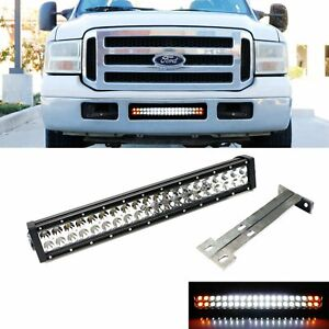 Strobe Function Lower Grill Led Ligth Bar W Bracket Wire For 99 07 Ford F250