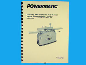 Powermatic Model Pj 882 8 Parallelogram Jointer Instruct Parts Manual 283