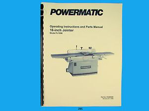 Powermatic Model Pj 1696 16 Jointer Operating Instruction Parts Manual 285