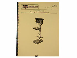 Delta Milwaukee 17 Drill Press Operating And Parts List Manual 847