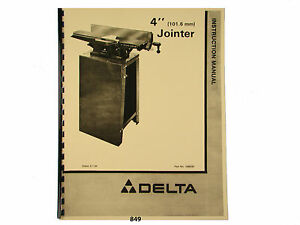 Delta 4 Jointer Model 37 290 Others Instruction And Parts List Manual 849