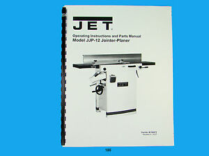 Jet Jjp 12 Wood Jointer planer Owners Manual 186
