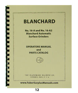 Blanchard Surface Grinder 16 a 16 a2 Operator Parts Manual 12