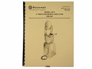 Delta Rockwell 14 Band Saw Wood Metal Operating Parts List Manual 1096
