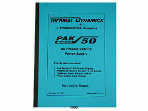 Thermal Dynamics Pakmaster 50 Plasma Cutter Instruction Service Manual 1005