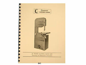 Rockwell Delta Crescent 20 Wood Band Saw Op Maintenance Parts Manual 841
