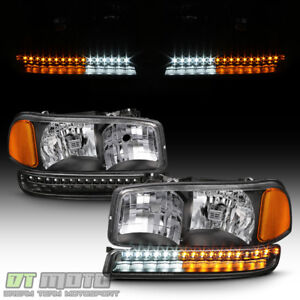 Black 1999 2006 Gmc Sierra Yukon Xl Headlights Led Parking Bumper Signal Lights