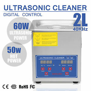 Stainless Steel 2l Liter Industry Heated Ultrasonic Cleaner Heater W h Timer Us