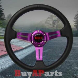 330mm Purple Stitching Pvc Leather Deep Dish Sport Steering Wheel Fits Universal