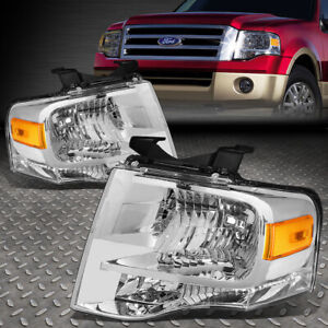 For 2007 2014 Ford Expedition Pair Chrome Housing Amber Side Headlight lamp Set