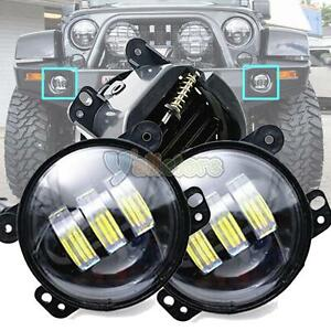 2x 4 Inch Round 30w Led Fog Lights For Jeep Wrangler Jk Model 07 15 Cj Lj