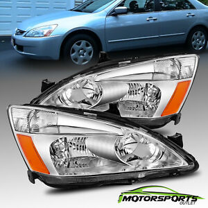 For 2003 2007 Honda Accord Factory Style Chrome Headlights Pair 2004 2005 2006
