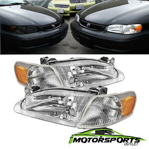 Fit 1998 2000 Toyota Corolla Oe Factory Style Chrome Headlights Corner Lamps