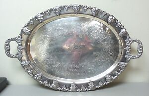 Huge Antique Engraved Silver Plate 30 5 Butler Serving Tray Monog M P C