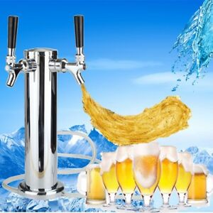 Double 2 Tap Stainless Steel Draft Beer Tower Kegerator Dual Chrome Faucets