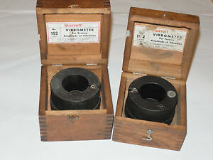 2 Starrett No 192 Vibrometer In Wooden Boxes Measure Amplitude Of Vibration