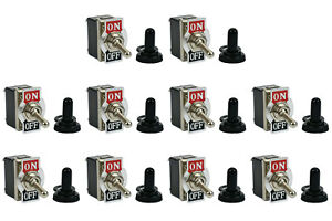 10 Pc Temco 20a 125v On off Dpst 4 Terminal Toggle Switch W Waterproof Boot Cap