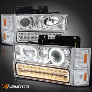 94 98 Chevy C k Tahoe Halo Led Projector Headlights bumper Lights corner Lamps