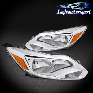 2012 2013 2014 Ford Focus Factory Style Chrome Headlights Head Lamps Pair