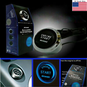 12v Car Engine Start Push Button Switch Ignition Starter Kit Blue Led Universal