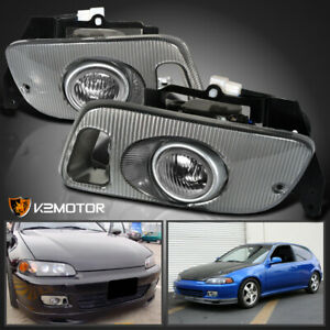 For 1992 1995 Honda Civic 2dr 3dr Jdm Clear Lens Fog Lights Bumper Lamps Switch