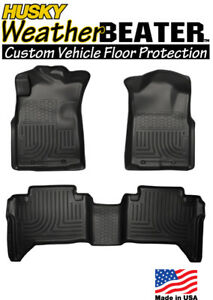 Husky 98951 Weatherbeater Front Rear Floor Mats 05 15 Toyota Tacoma Double Cab