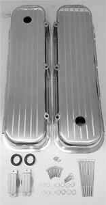 Bbc Big Block Chevy Tall Polished Valve Covers Ball Milled Aluminum 396 427 454