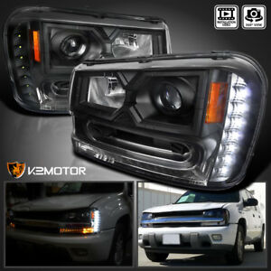 Black For 2002 2009 Chevy Trailblazer Led Drl Projector Headlights Left right