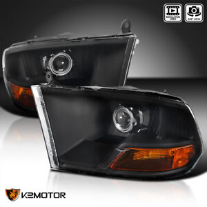 Black 2009 2018 Dodge Ram 1500 2500 3500 Retrofit Style Projector Headlights