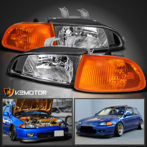 For 92 95 Honda Civic 2dr 3dr Eg Eh Ej Jdm Black Headlights corner Lights 4pc