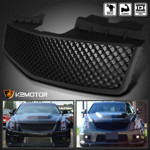 For 2003 2007 Cadillac Cts V Abs Mesh Front Hood Grill Matte Black Grille