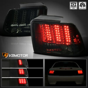 Fit 1999 2004 Ford Mustang Smoke Lens Sequential Led Tail Light Brake Lamps Pair